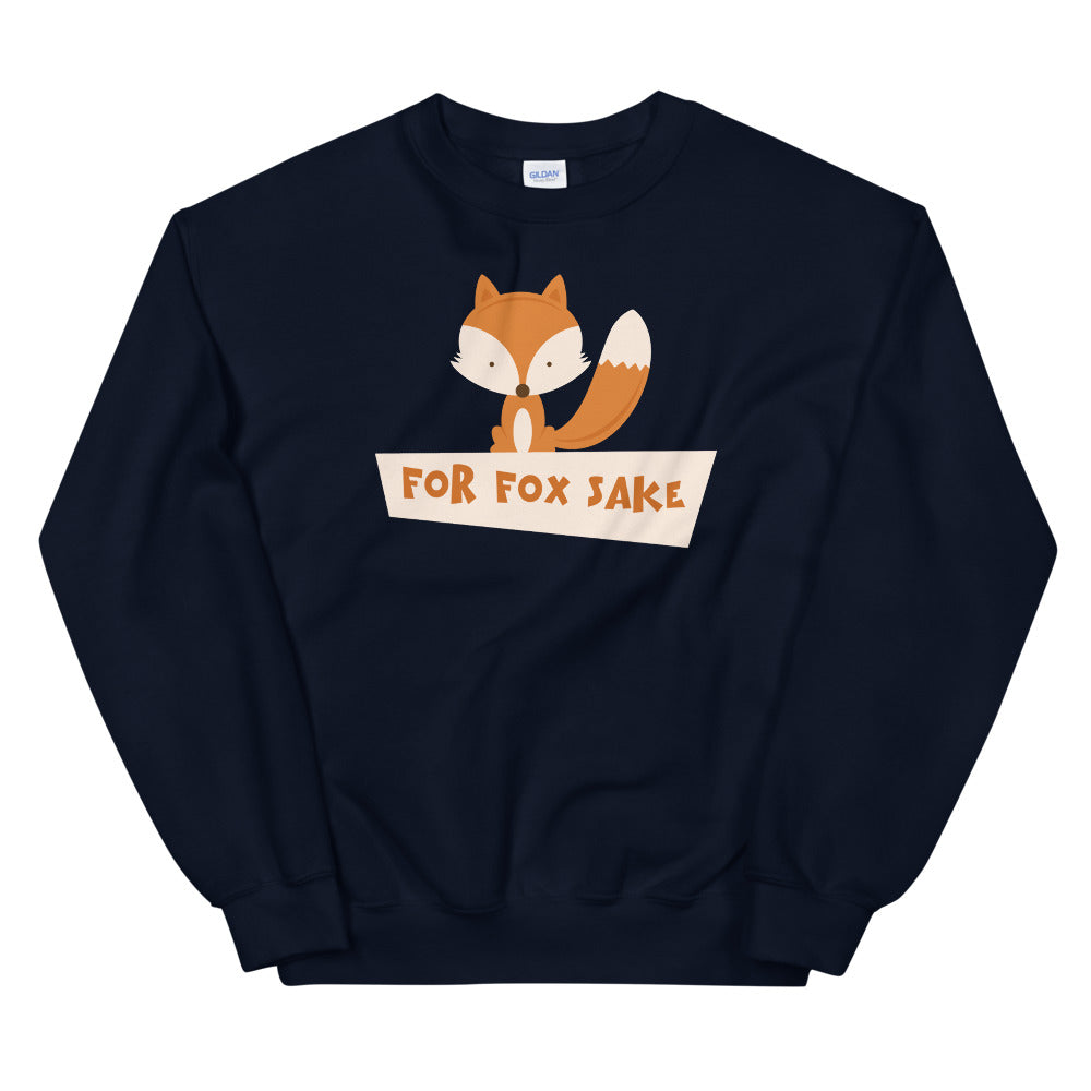 Navy For Fox Sake Pullover Crewneck Sweatshirt for Women