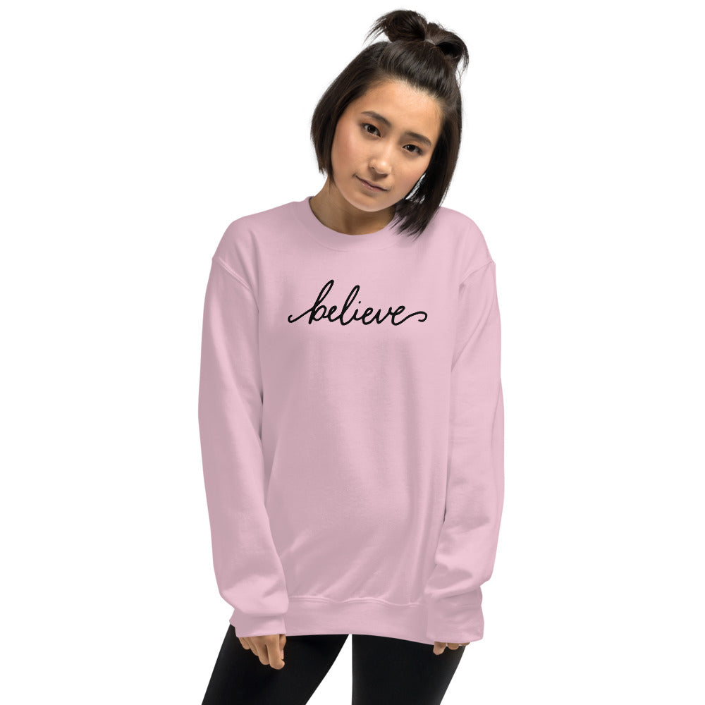 Believe Sweatshirt | Pink One Word Believe Sweatshirt for Women