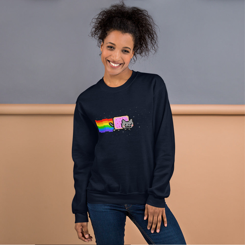 Flying Nyan Cat Pixel Art Meme Crewneck Sweatshirt