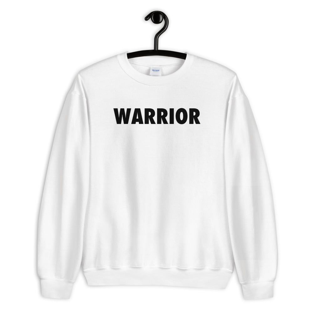 Warrior Sweatshirt | White One word Sweatshirt for Women