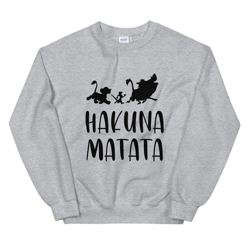 Hakuna Matata Sweatshirt | Grey Lion King Hakuna Matata Crew Neck for Women