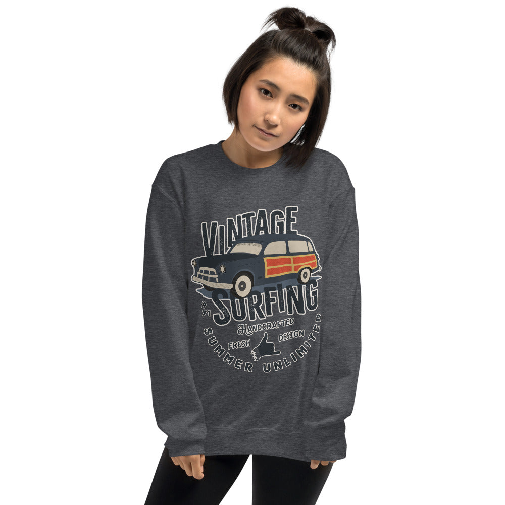 Vintage Car Surfing Crewneck Sweatshirt for Women