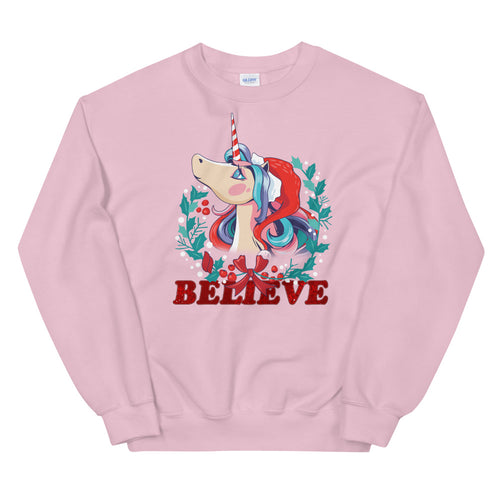 Christmas Unicorn Face Believe Crewneck Sweatshirt for Women