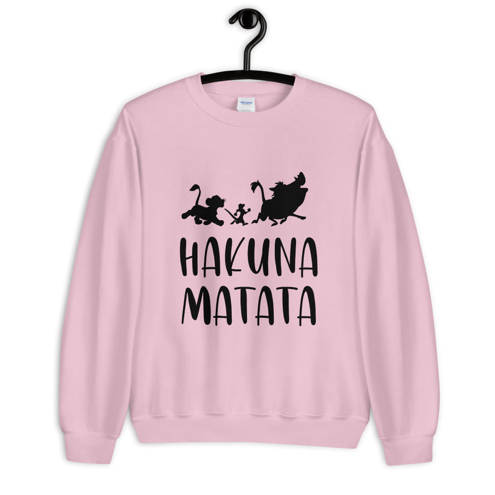 Pink Lion King Hakuna Matata Pullover Crew Neck Sweatshirt for Women