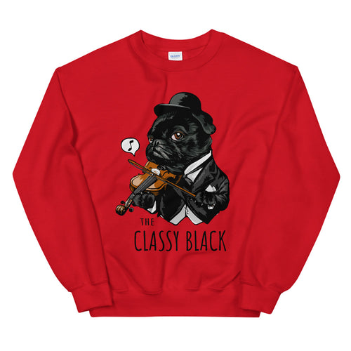 The Classy Black Pug Crewneck Sweatshirt for Women