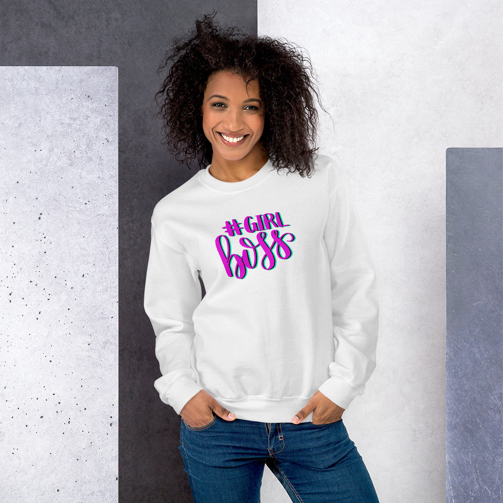 Girl Boss Sweatshirt | White Hashtag Girl Boss Sweatshirt for Women