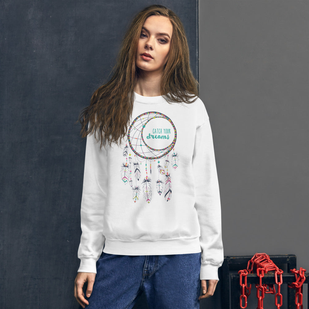 Catch Your Dreams Sweatshirt | White Boho Style Dream Catcher Sweatshirt