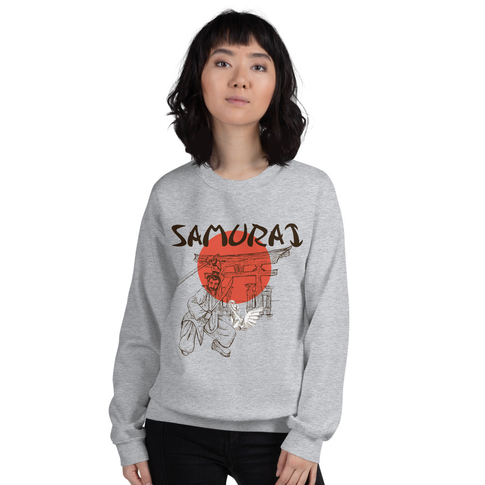 Japanese Red Moon Samurai Crewneck Sweatshirt for Women
