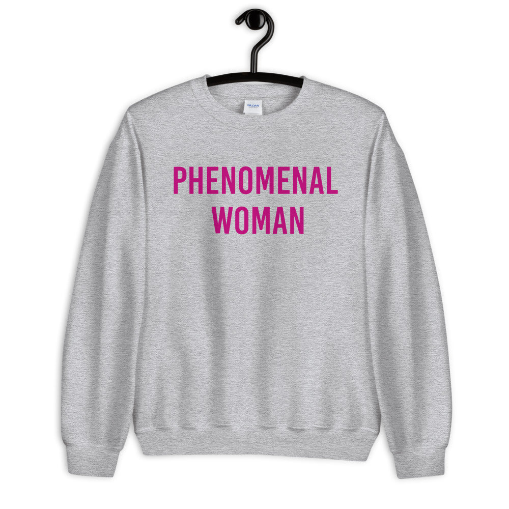 Phenomenal Woman Sweatshirt - Grey Empowerment Sweatshirt for Women