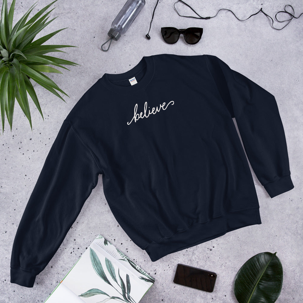 Believe Sweatshirt | Navy One Word Believe Sweatshirt for Women