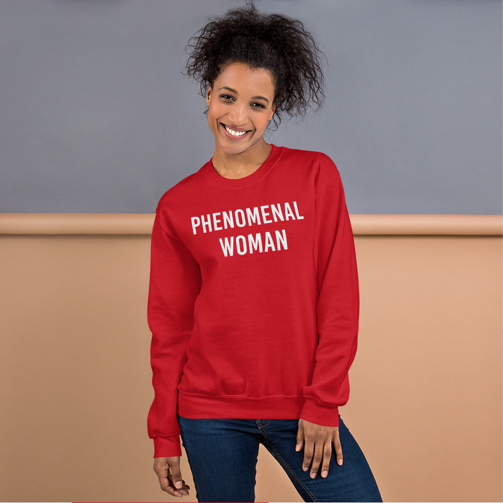 Phenomenal Woman Sweatshirt - Red Empowerment Pullover Crewneck
