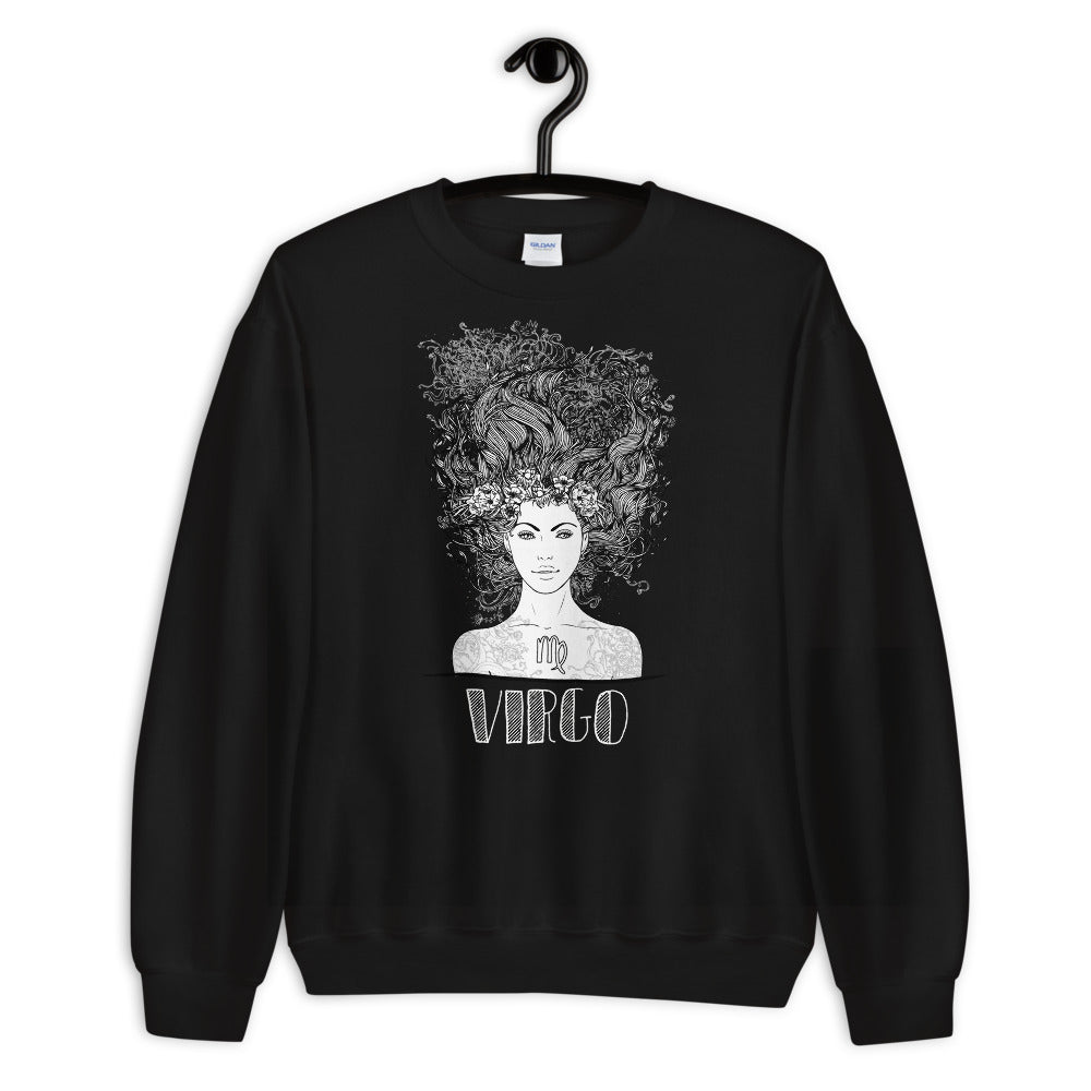 Virgo Sweatshirt | Black Crewneck Virgo Zodiac Sweatshirt