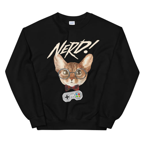Nerd Cat Meme Crewneck Sweatshirt for Women