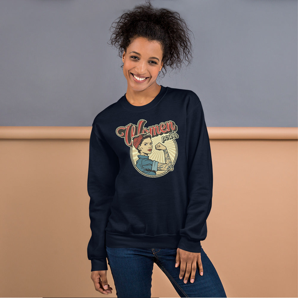 Vintage Women Power Sweatshirt | Navy Woman Power Sweatshirt