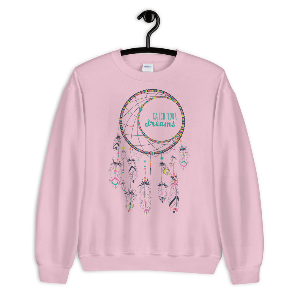 Catch Your Dreams Sweatshirt | Pink Boho Style Dream Catcher Sweatshirt