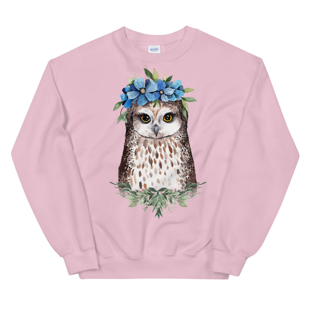 Owl Sweatshirt | Flower Crown Owl Sweatshirt for Women in Pink