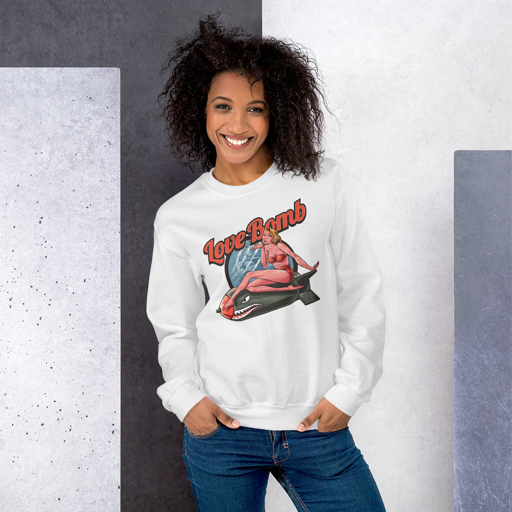 Love Bomb Sweatshirt | White Vintage Love Bomb Sweatshirt