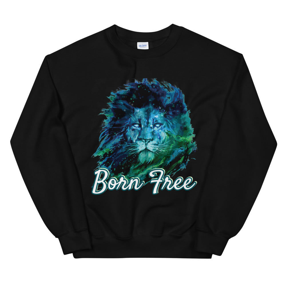 Born Free Wild Lion Face Crewneck Sweatshirt for Women