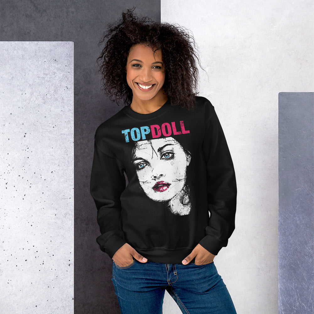 Top Doll Sweatshirt | Fashion Top Girl Portrait Crewneck for Women