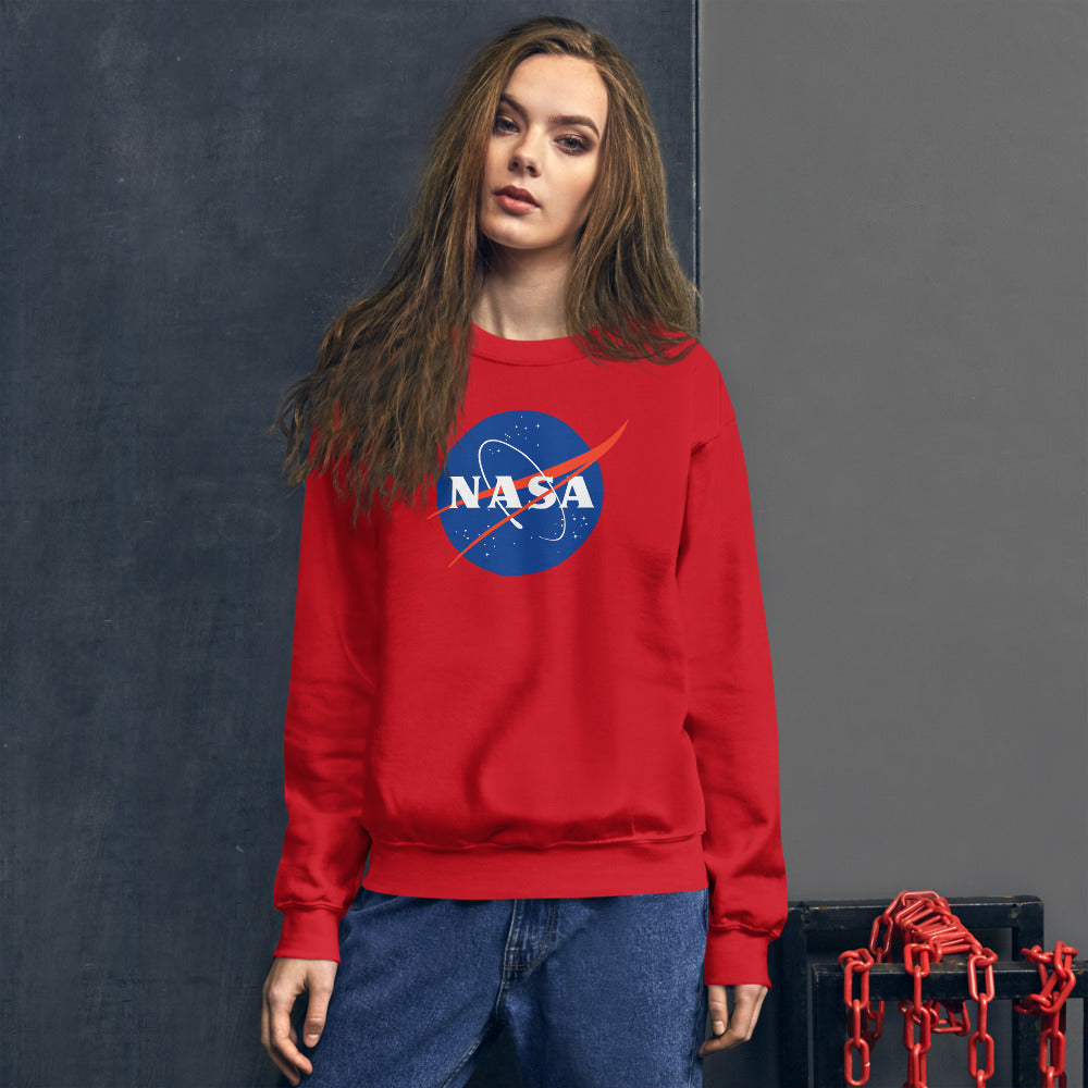 Red NASA Pullover Crewneck Sweatshirt for Women and Girls