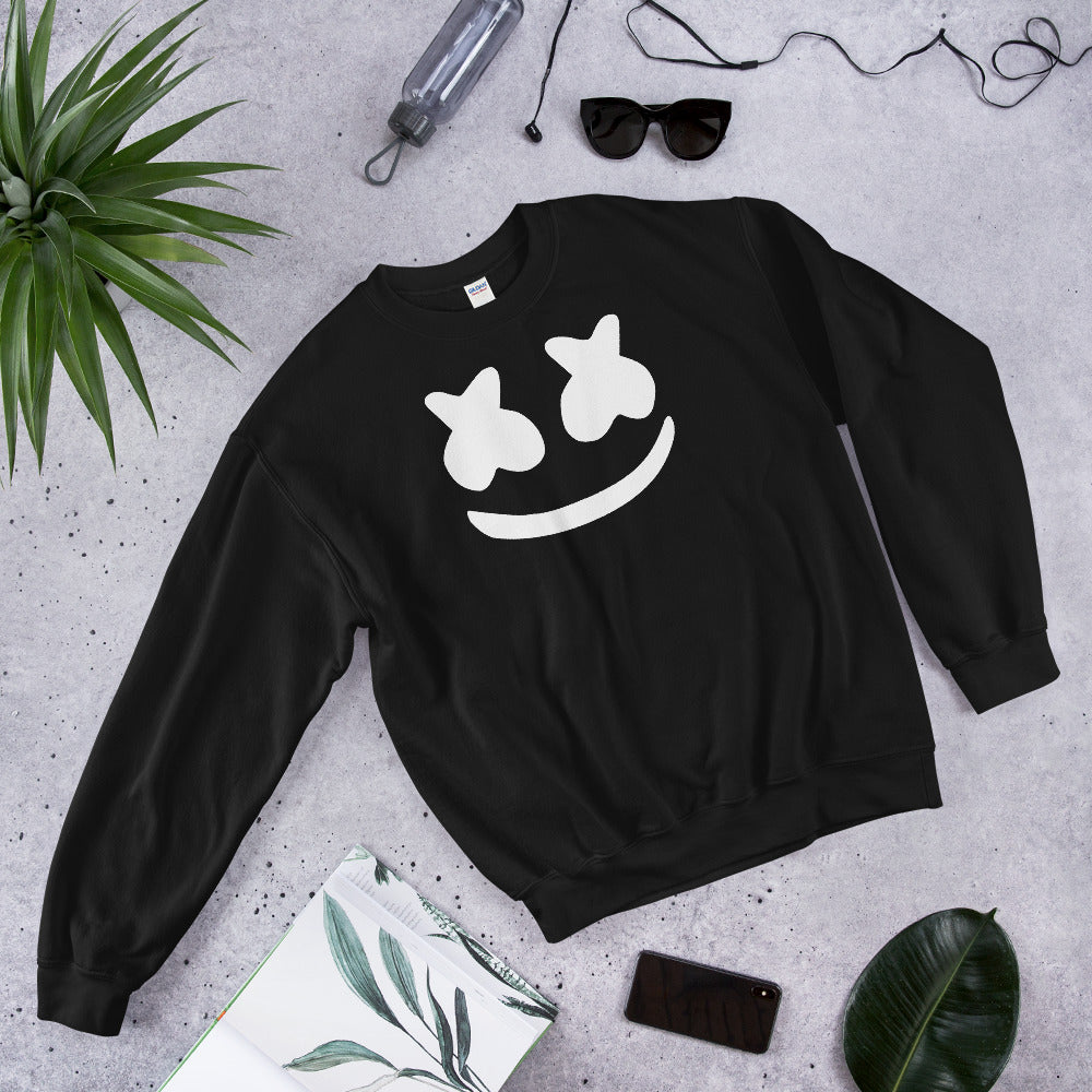 Dj Marshmello Sweatshirt - Black Marshmello Pullover Crewneck for Women