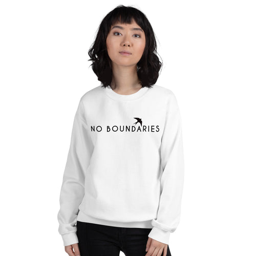 White No Boundaries Motivational Pullover Crew Neck Sweatshirt