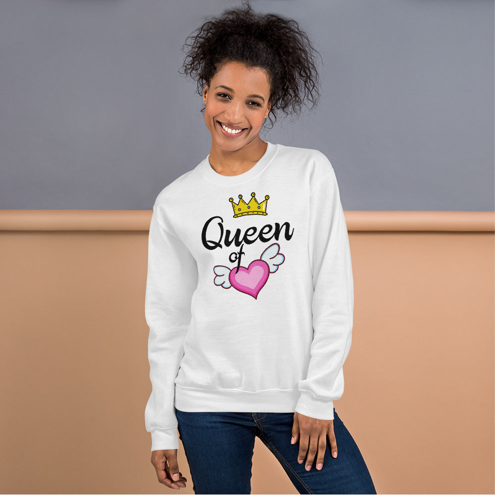 Queen of Heart Sweatshirt in White Color for Women