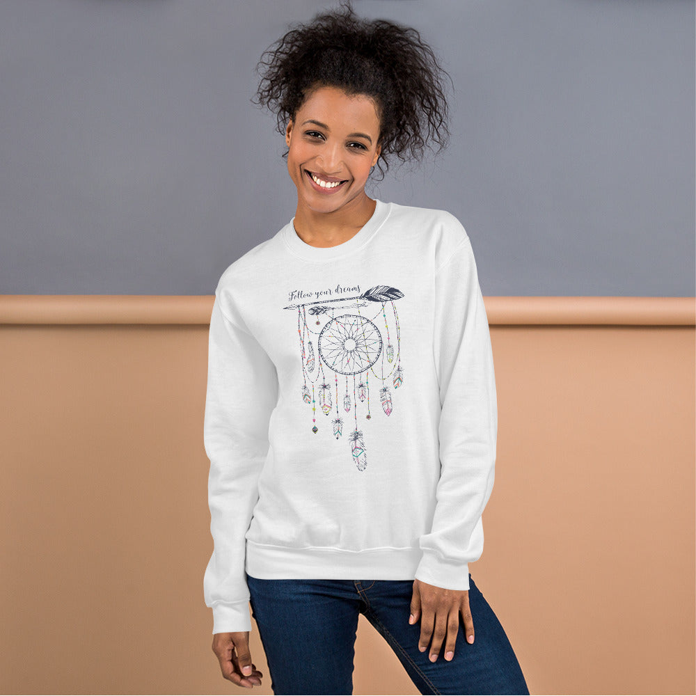 Follow Your Dreams Sweatshirt | White Boho Style Dream Catcher Sweatshirt