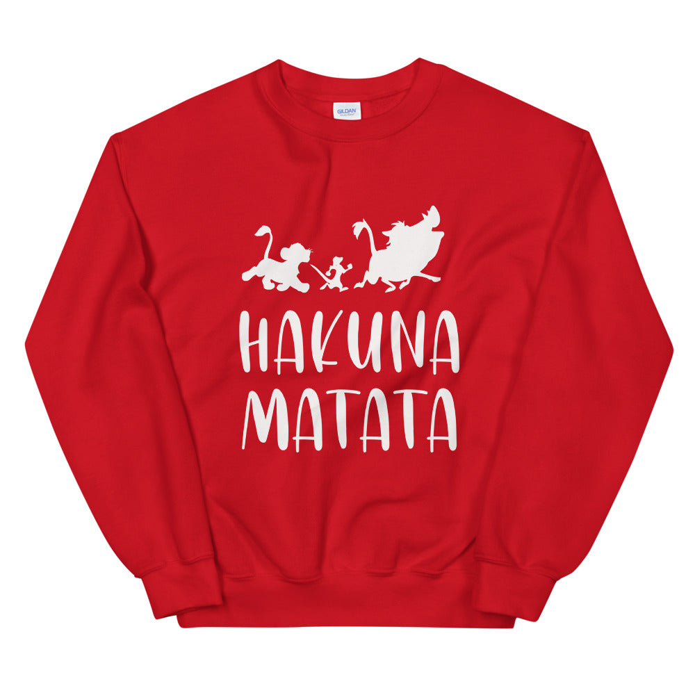 Hakuna Matata Sweatshirt | Red Lion King Hakuna Matata Crew Neck for Women