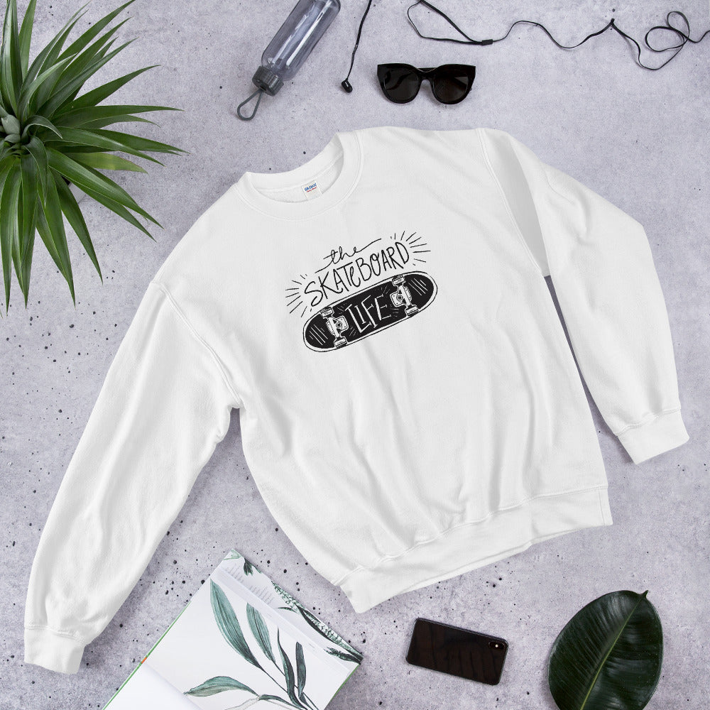 Skateboard Life Sweatshirt | White skating sweatshirt for Women