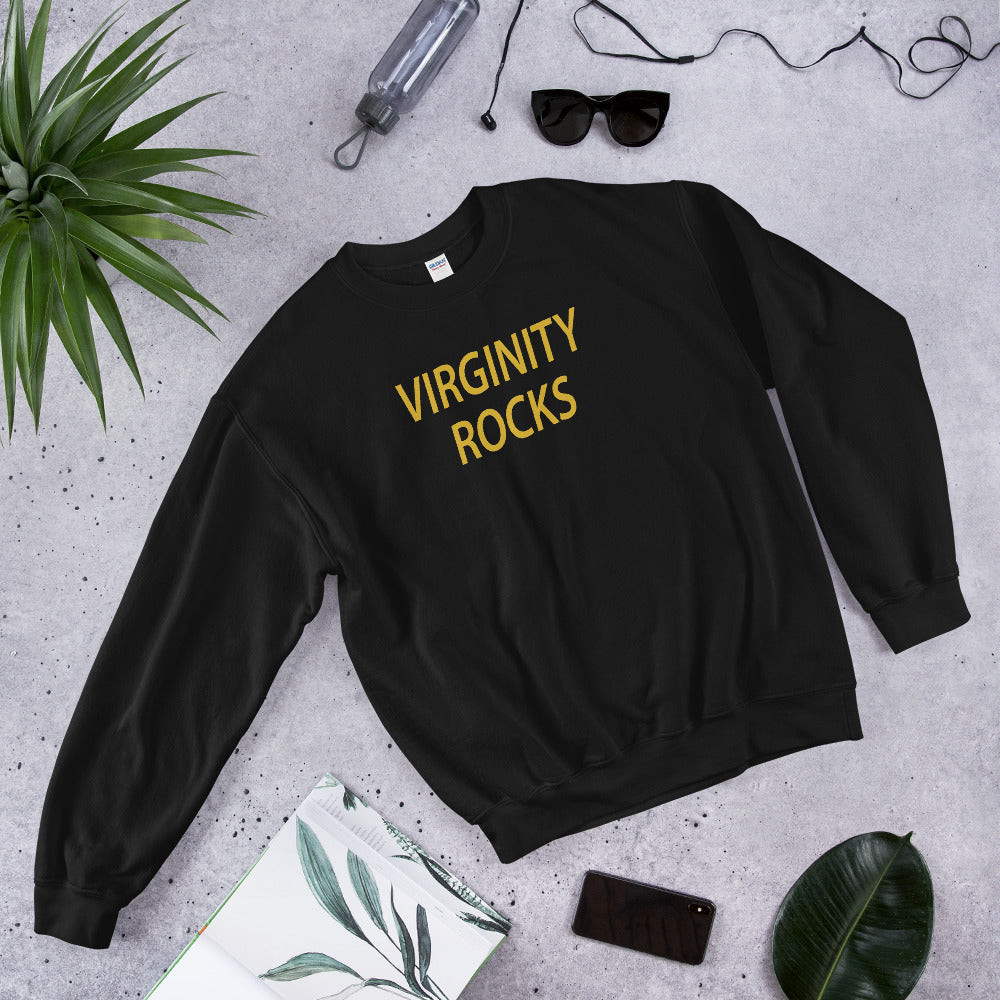 Virginity Rocks Sweatshirt | Black Crewneck Virginity Rocks Sweatshirt for Women