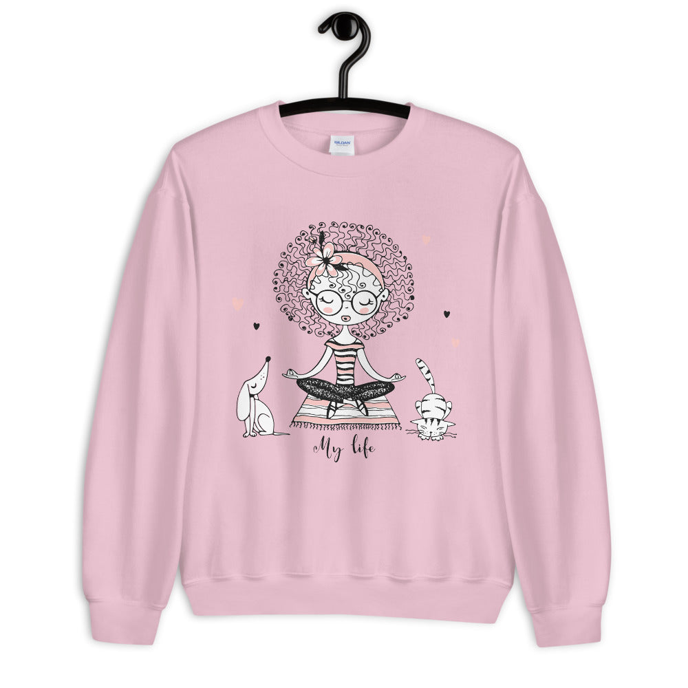 My Life Sweatshirt | Pink Yoga Girl Meditation Sweatshirt