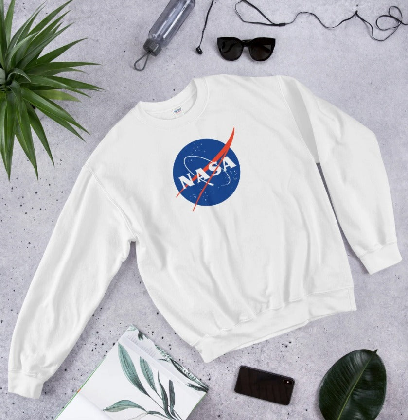 NASA Sweatshirt | White Crewneck Nasa Logo Sweatshirt for Women and Girls
