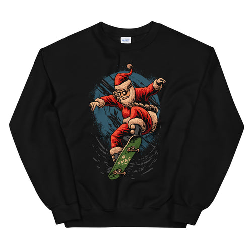 Skateboarding Santa Xmas Crewneck Sweatshirt for Women