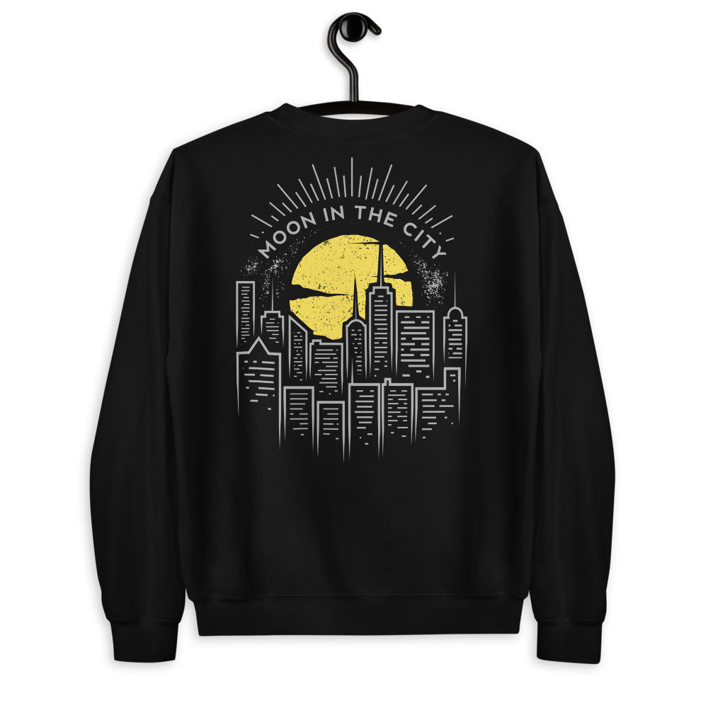 Big Bright Moon in The City Sweatshirt Back Print Crewneck