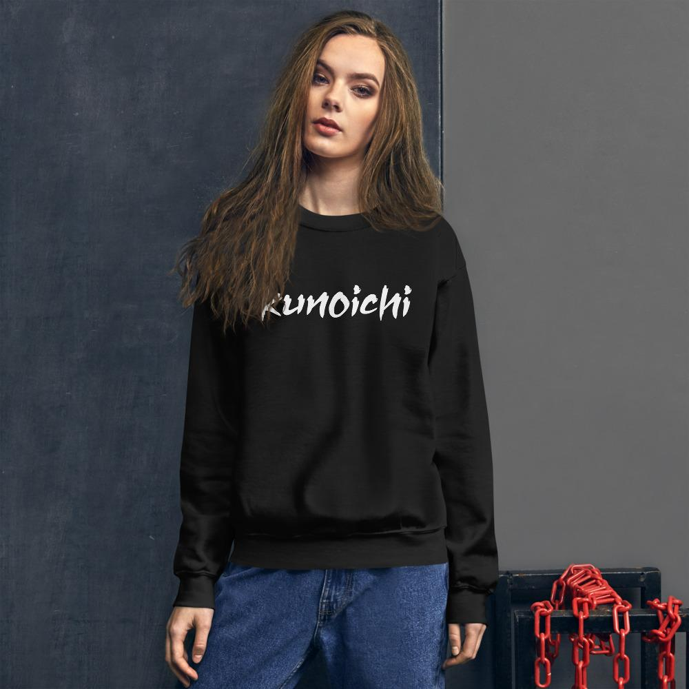 Ninja Kunoichi Sweatshirt | One Word 女 Kunoichi Crew Neck for Women