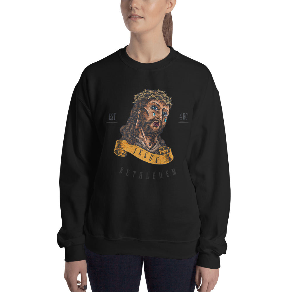Jesus Sweatshirt | Vintage Tattoo Style Jesus Graphic Crewneck for Women