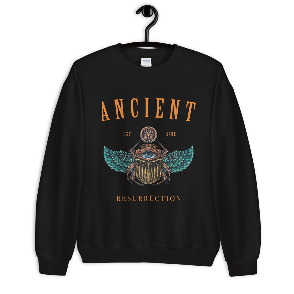 Ancient Egyptian Beetle Symbol Crewneck Sweatshirt for Women