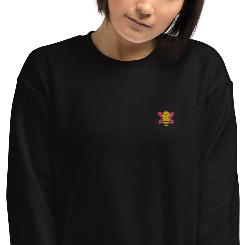 Bee Embroidered Pullover Crewneck Sweatshirt for Women