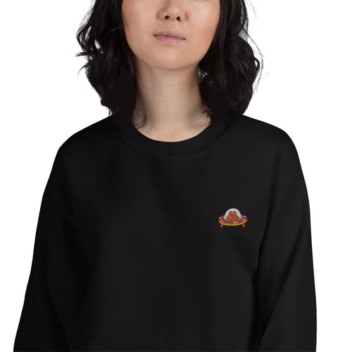 Astronaut cat Embroidered Pullover Crewneck Sweatshirt