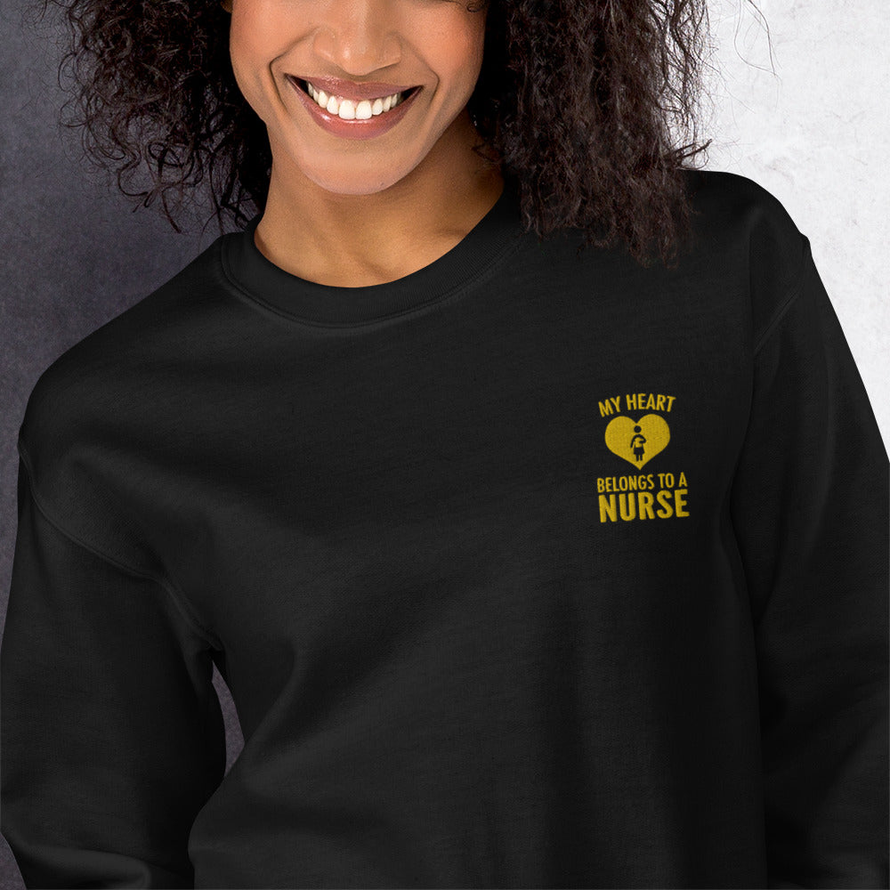 My Heart Belongs To a Nurse Embroidered Pullover Crewneck Sweatshirt