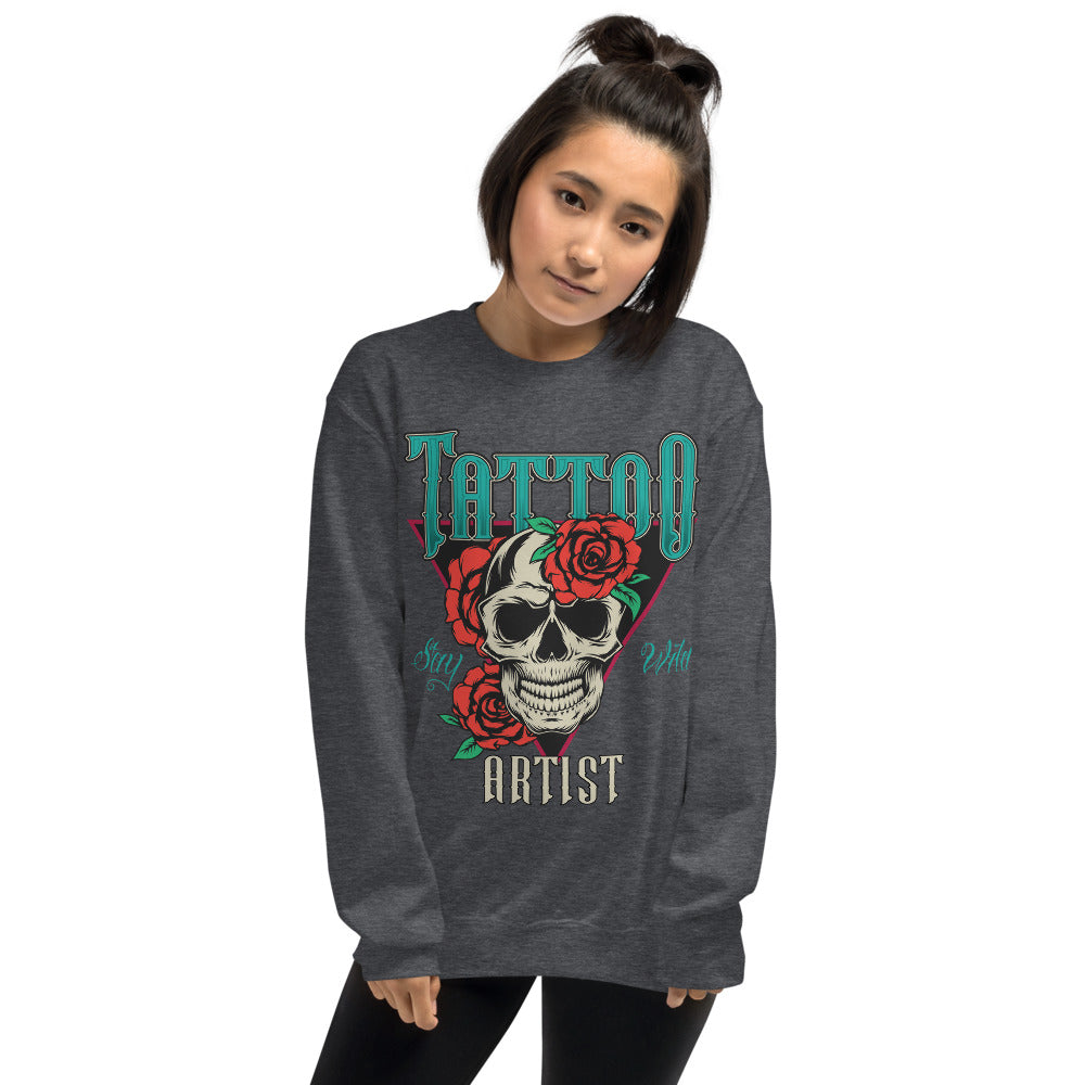 Stay Wild Tattoo Artist Crewneck Sweatshirt for Women
