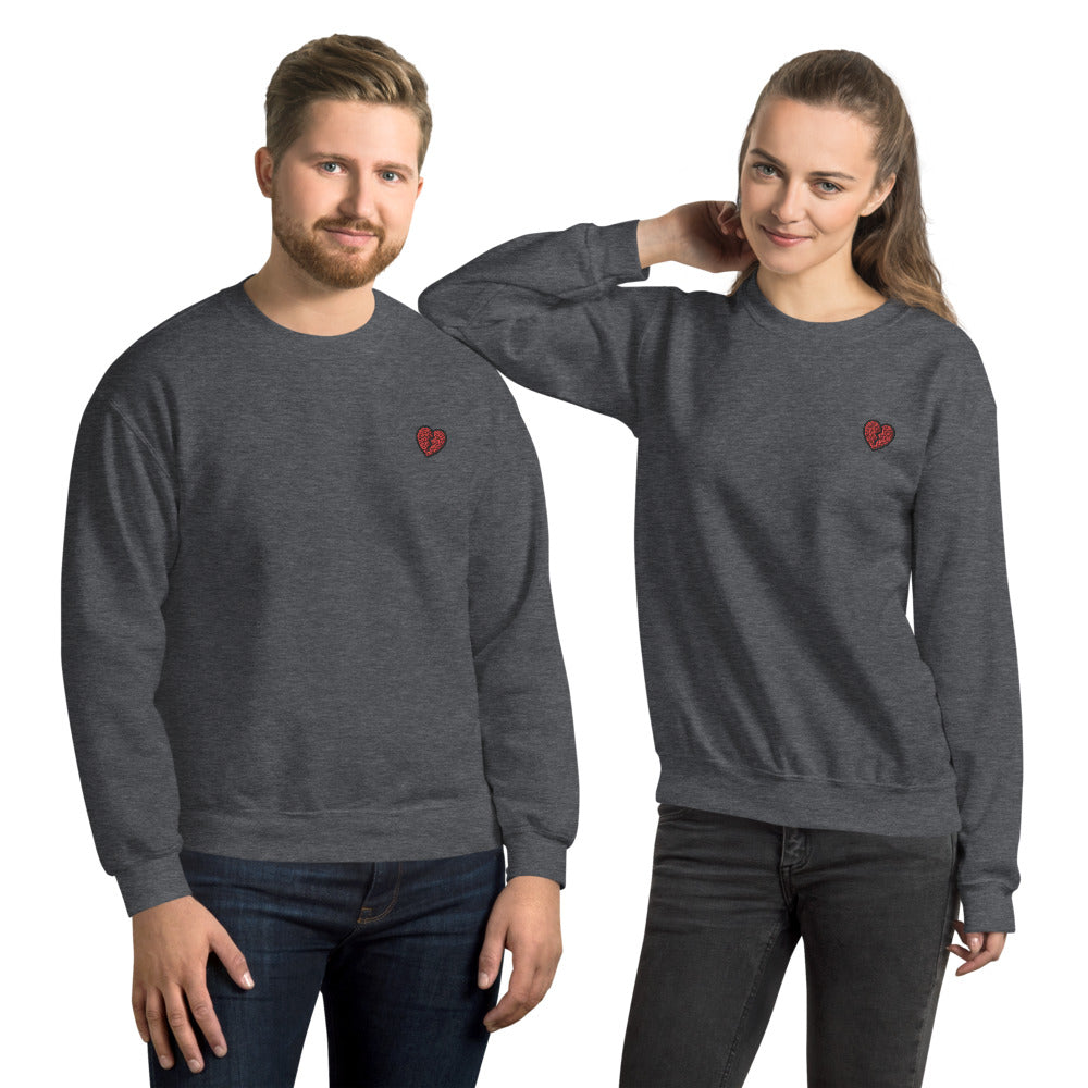Broken Heart Sweatshirt Embroidered Heartbreaks Pullover Crewneck