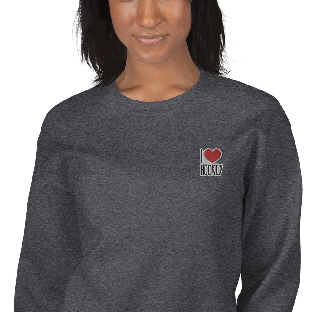 I Love Hockey Sweatshirt Embroidered Pullover Crewneck