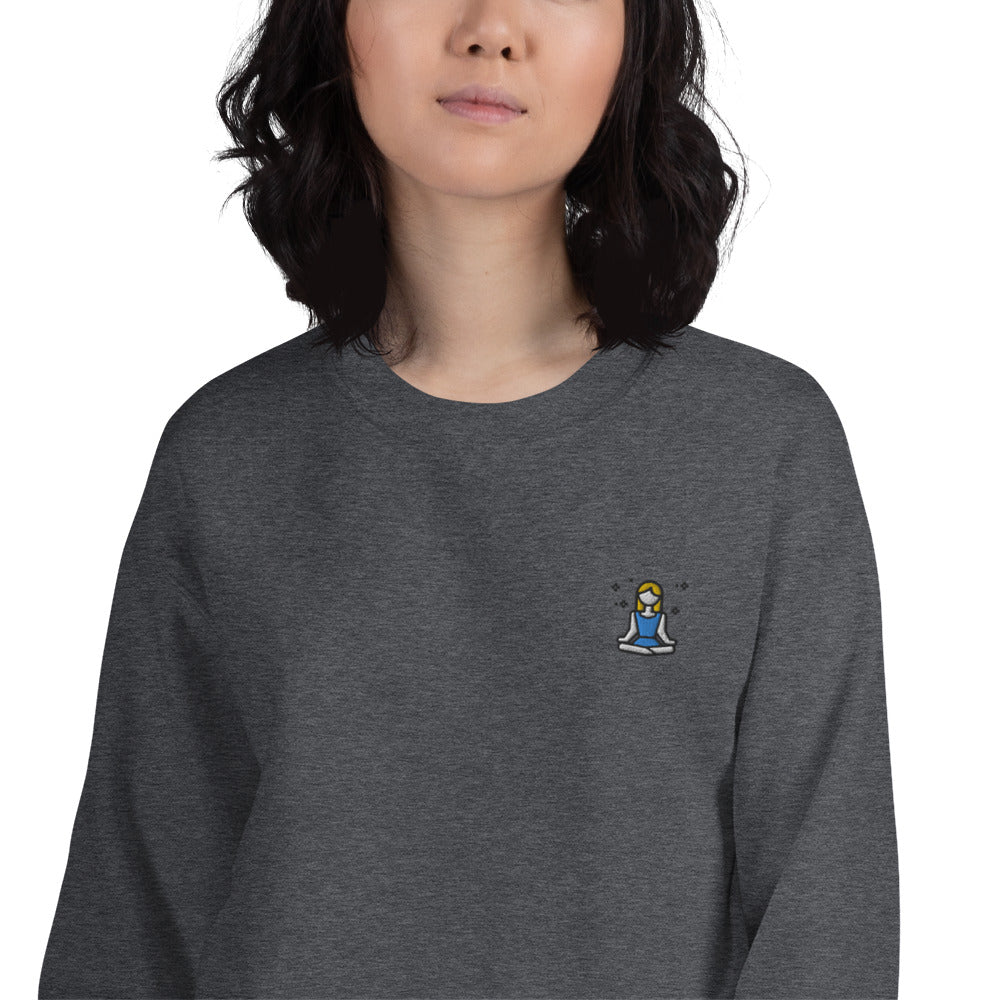 Yoga Lotus Position Sweatshirt Embroidered Padmasana Crewneck