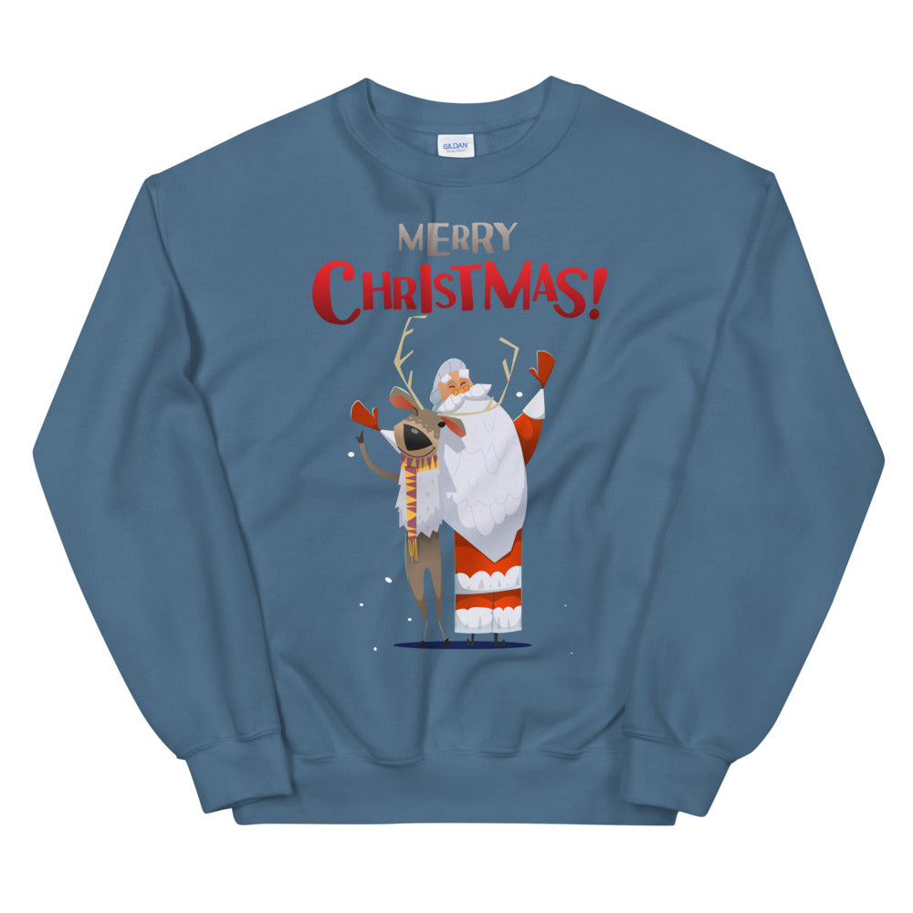 Merry Christmas Santa and Reindeer Crew Neck Sweatshirt Women