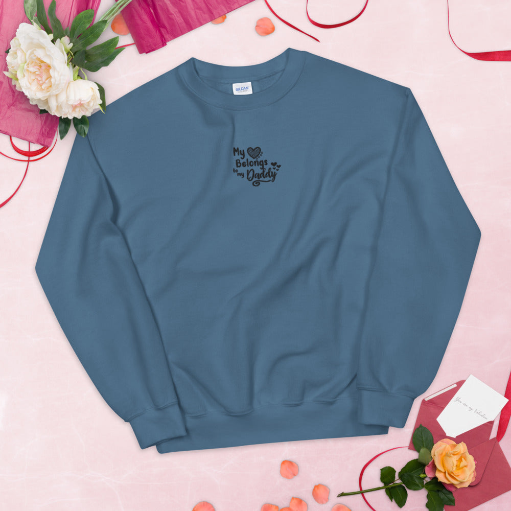My Heart Belongs To My Daddy Embroidered Pullover Crewneck Sweatshirt