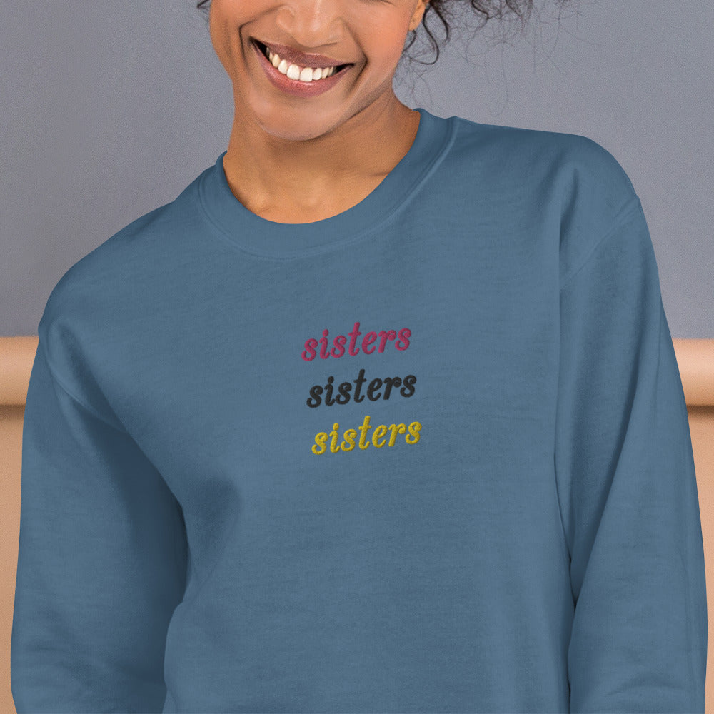 Custom Sisters Embroidered Pullover Crewneck Sweatshirt