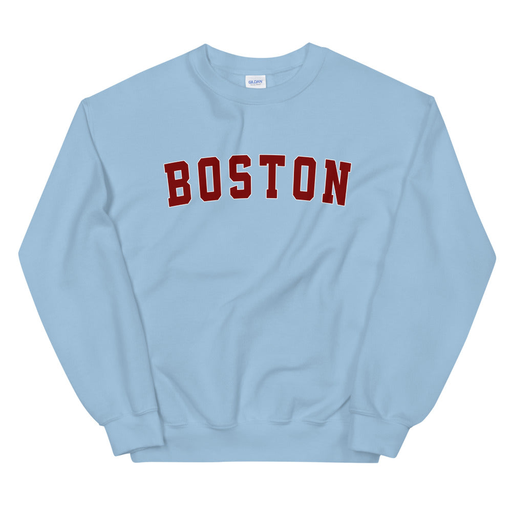 Boston Sweatshirt  | One Word Boston Crew Neck Sweatshirt for Women