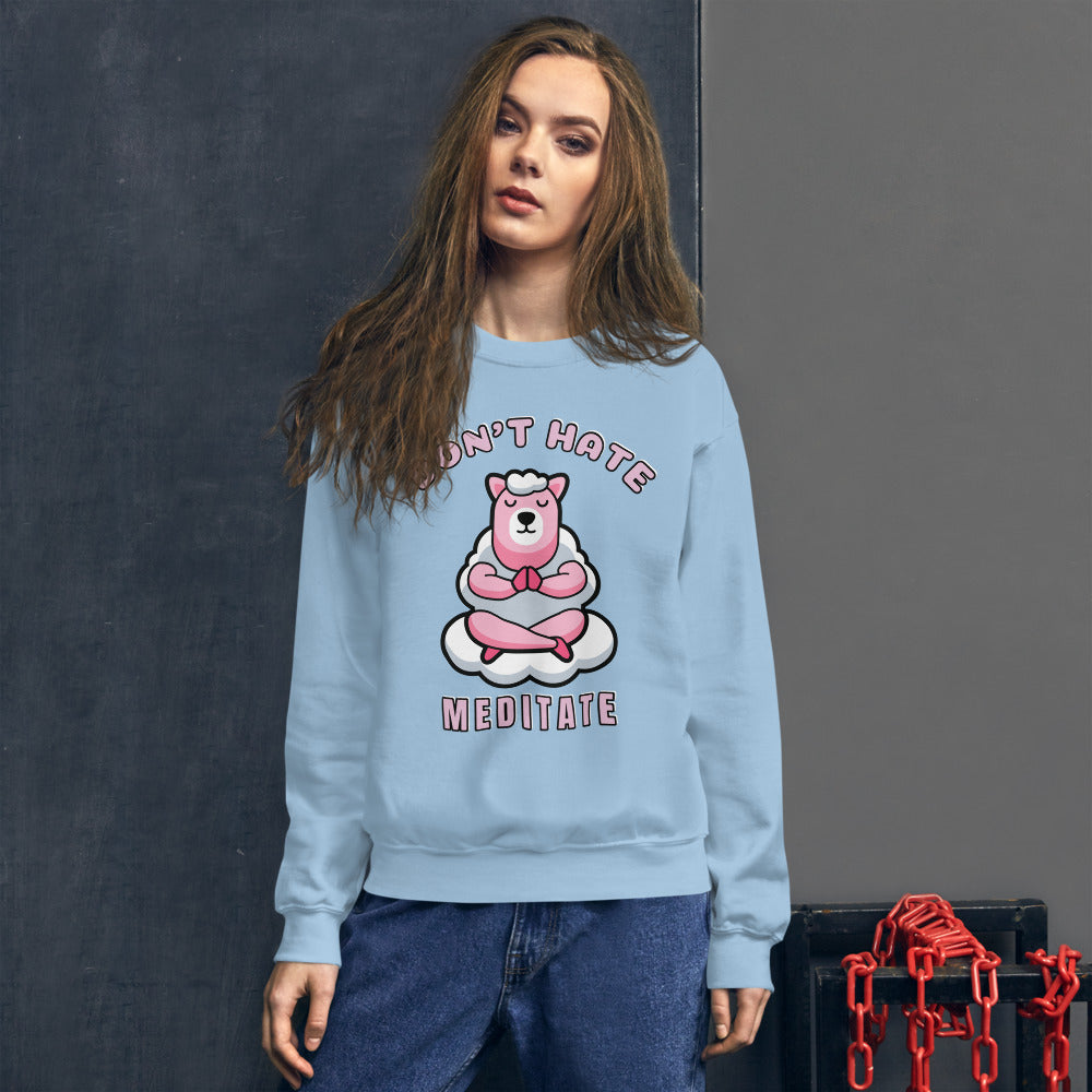 Don't Hate Meditate Pink Llama Crewneck Sweatshirt for Women